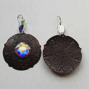 GASOLINE GLAMOUR Jewelry - GYPSY queen MEDALLION XL OPAL EARRINGS NEW